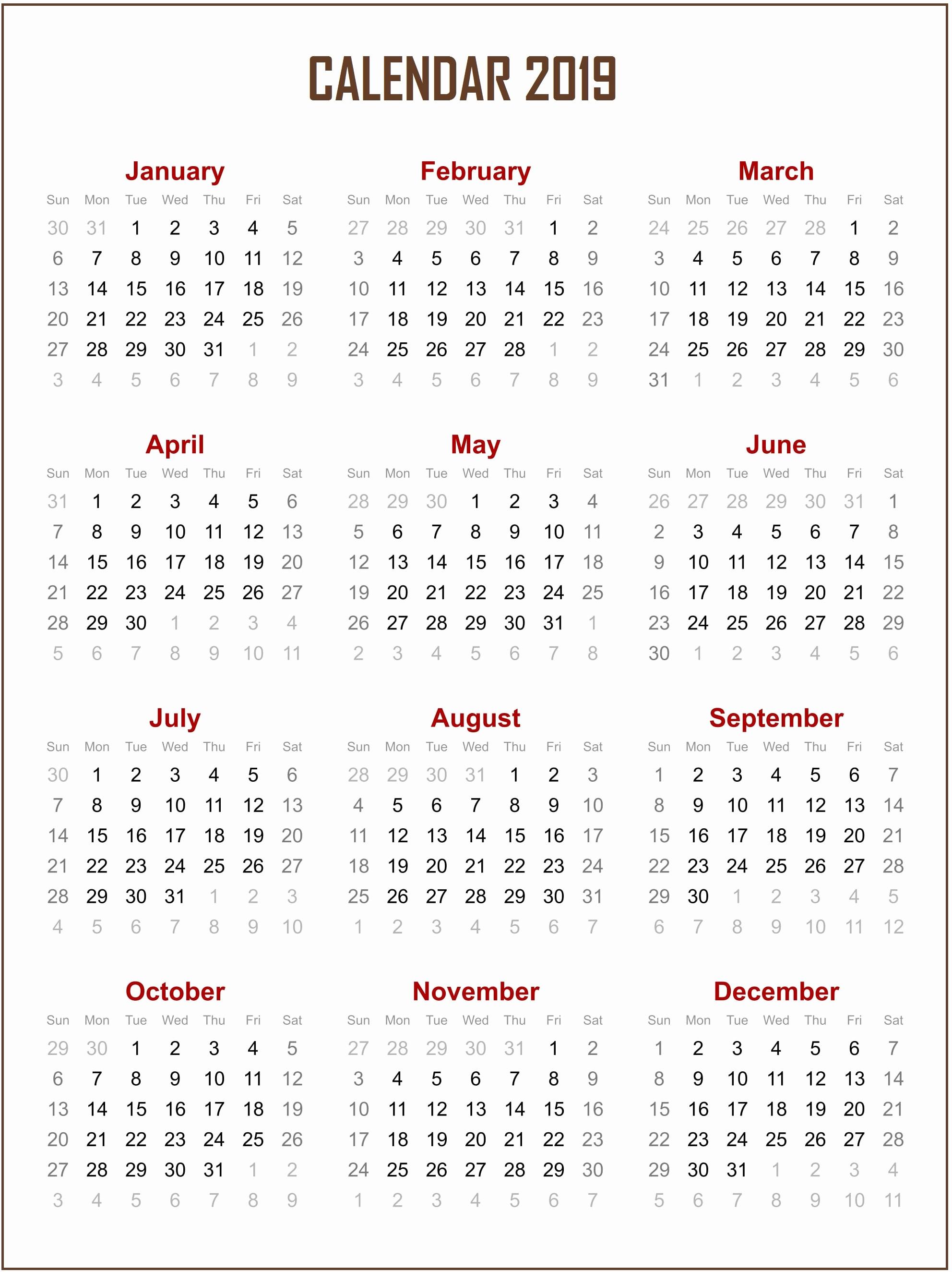 Free Printable Calendar Templates 2019 Lovely Free Printable 2019 Calendar Template – Free Calendar