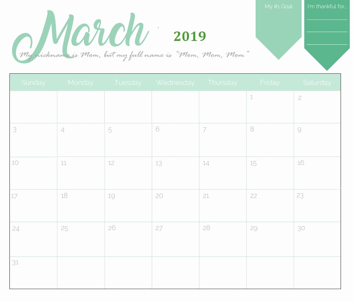 Free Printable Calendar Templates 2019 Luxury Free Printable 2019 Monthly Calendar
