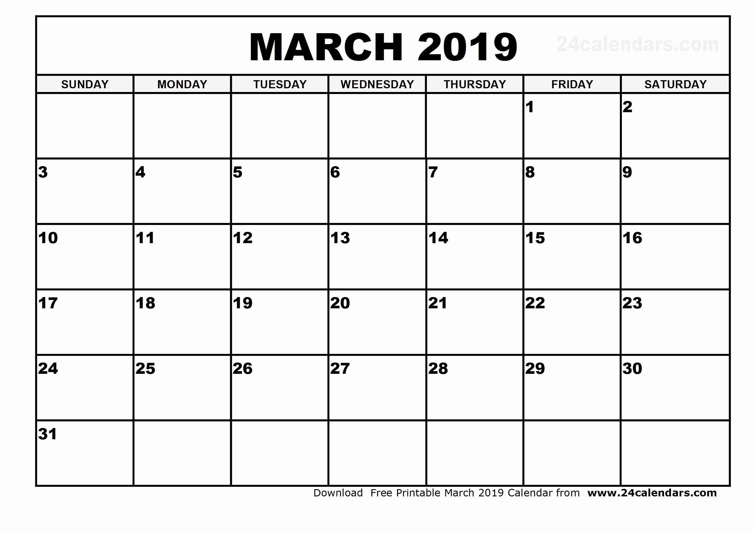 Free Printable Calendar Templates 2019 Luxury March 2019 Calendar Template