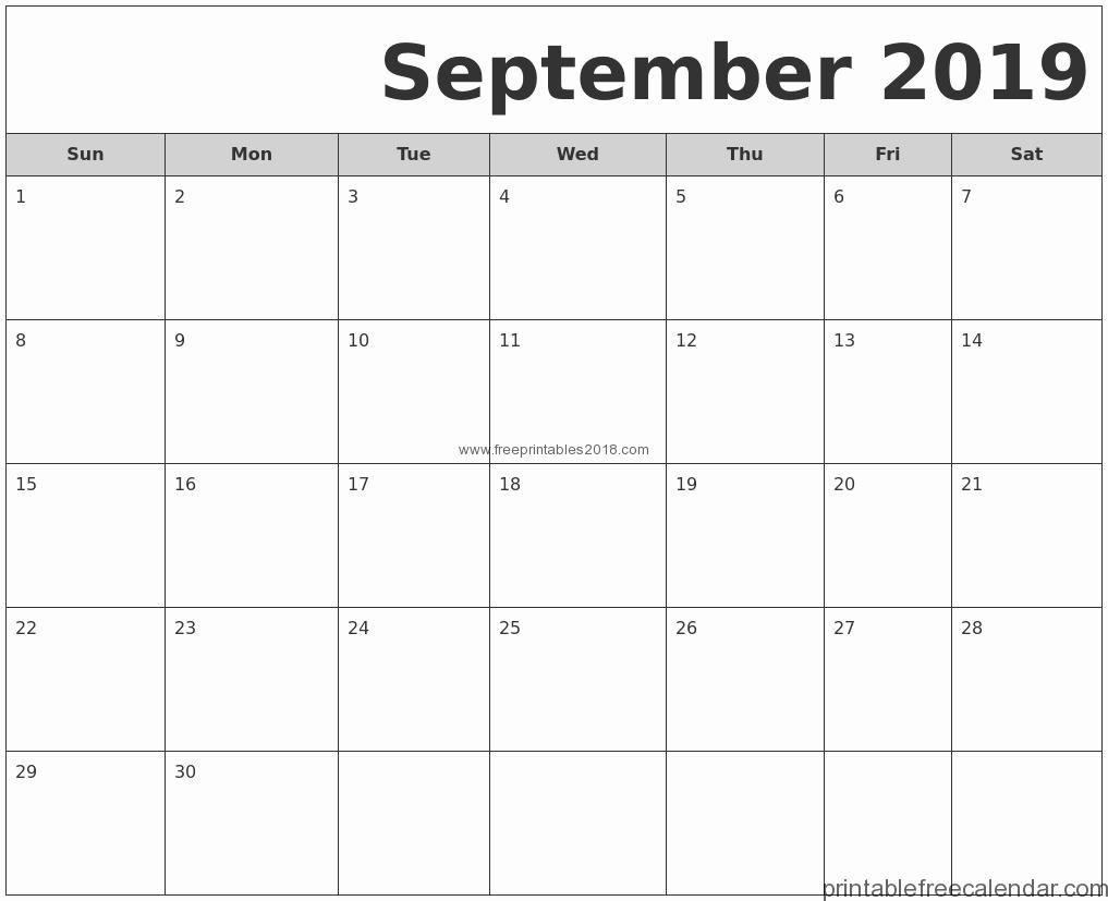 Free Printable Calendar Templates 2019 New Free Printable September 2019 Calendar Templates