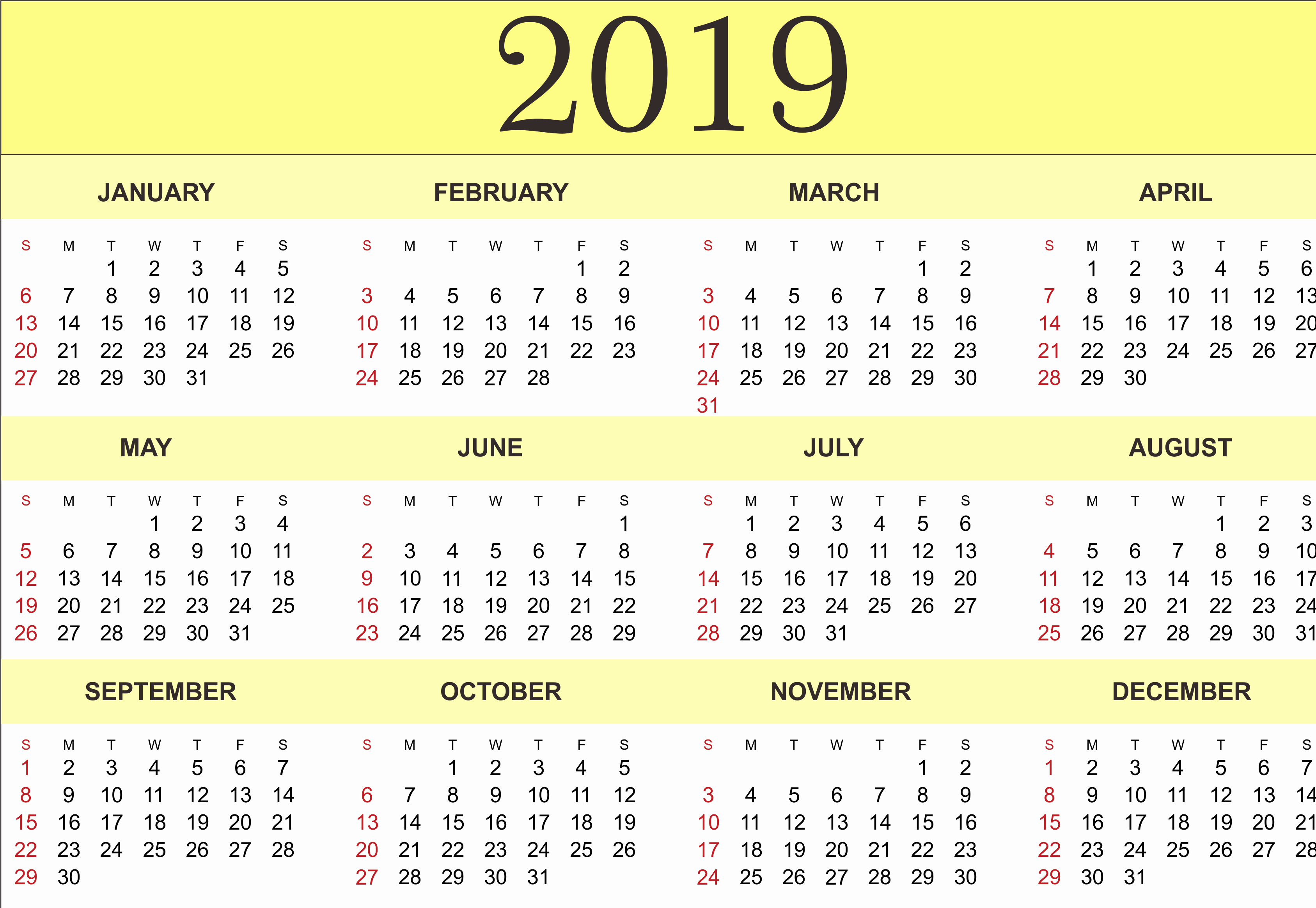 Free Printable Calendar Templates 2019 New Free Yearly Calendar 2019 Printable Blank Templates