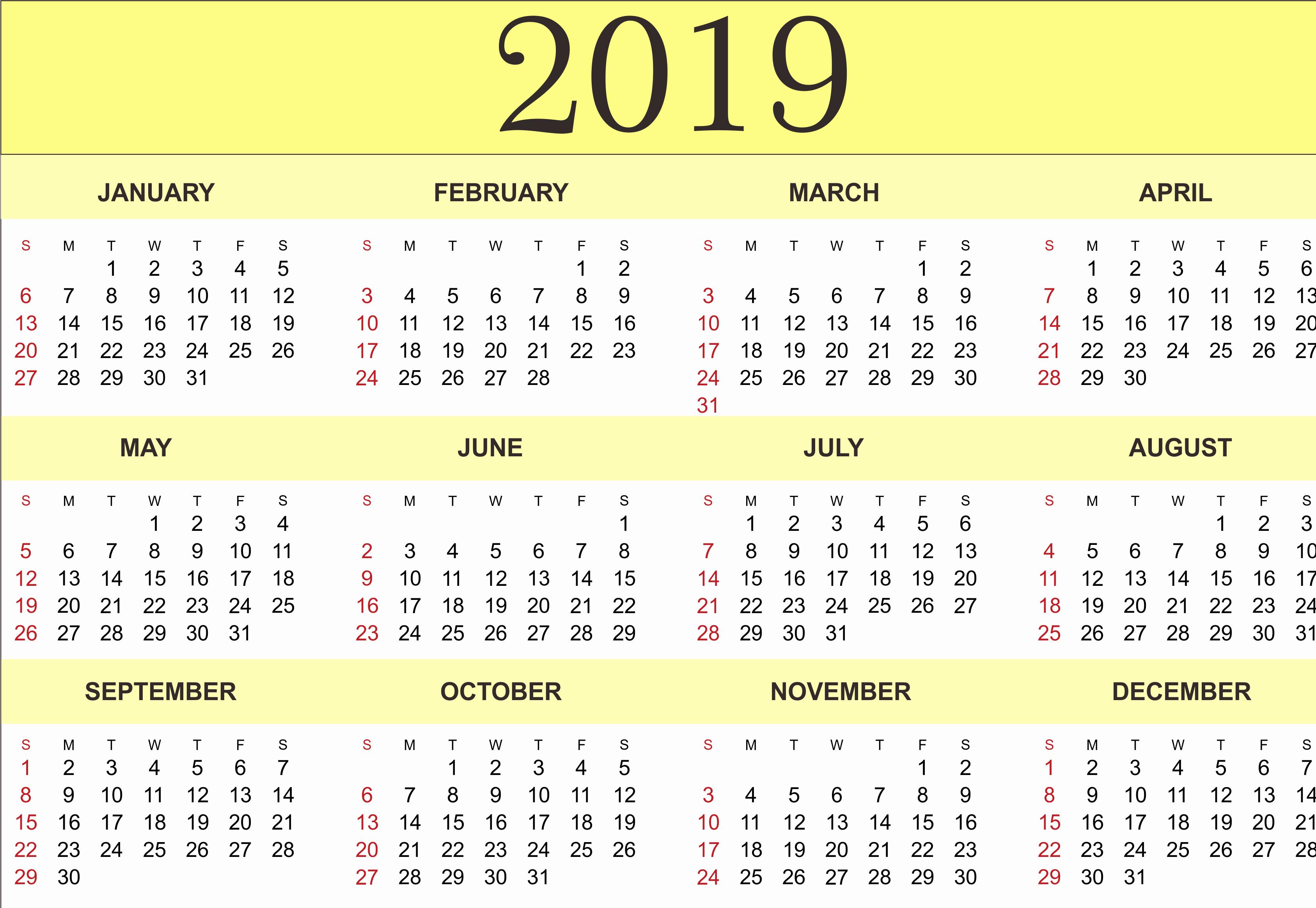 Free Printable Calendar Templates 2019 New Free Yearly Calendar 2019 Printable Blank Templates
