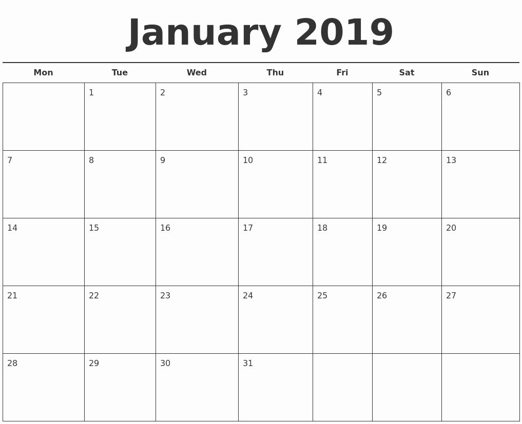 Free Printable Calendar Templates 2019 New January 2019 Free Calendar Template