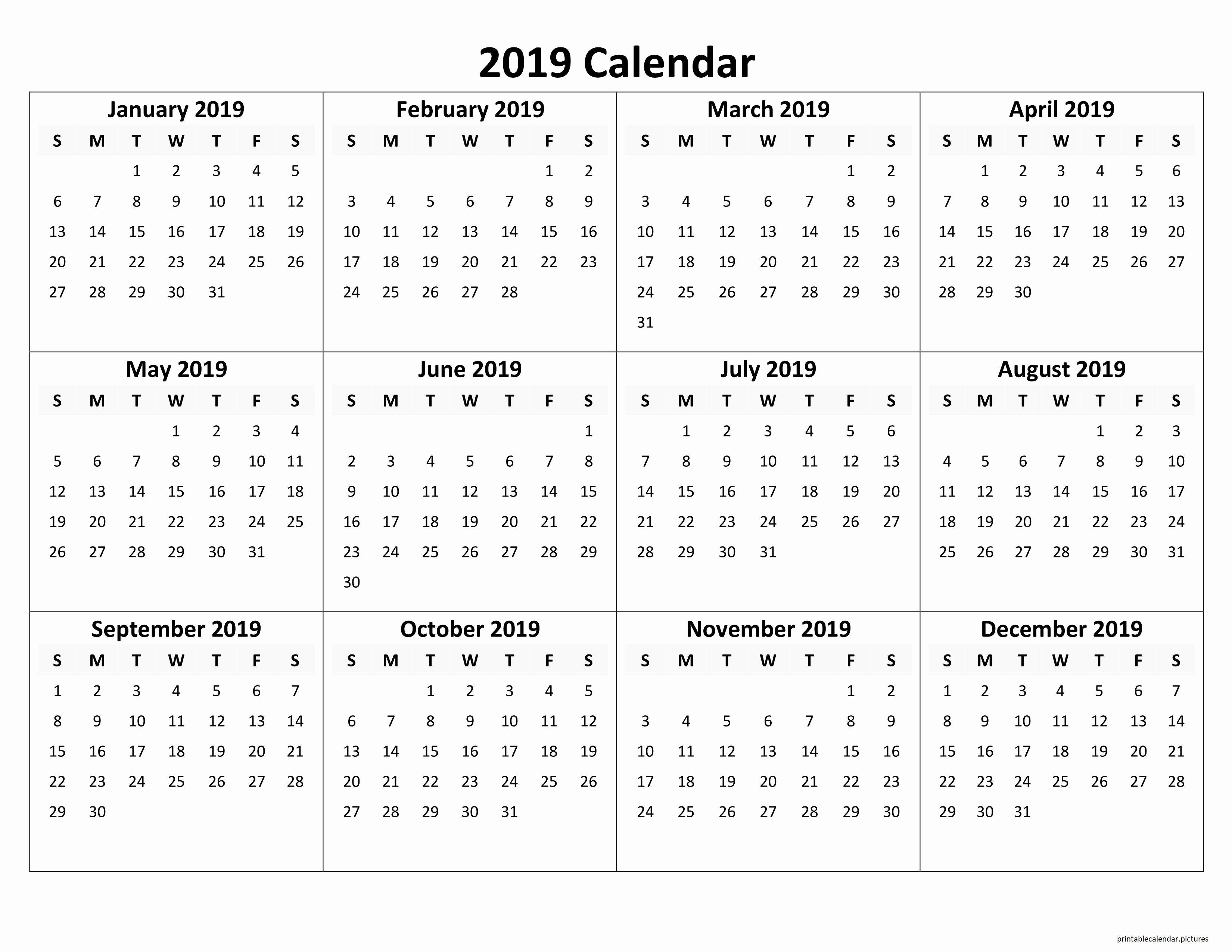 Free Printable Calendar Templates 2019 Unique Printable Yearly Calendar 2019