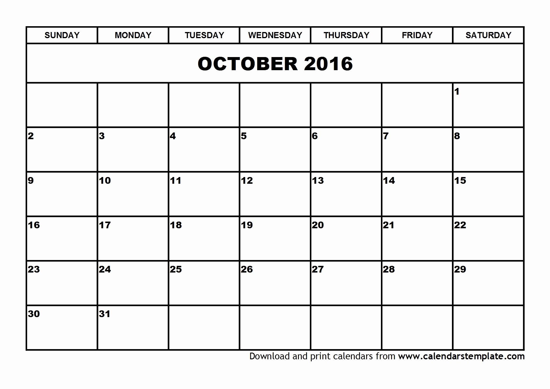 Free Printable Calendars 2016 Templates Awesome October 2016 Calendar Template