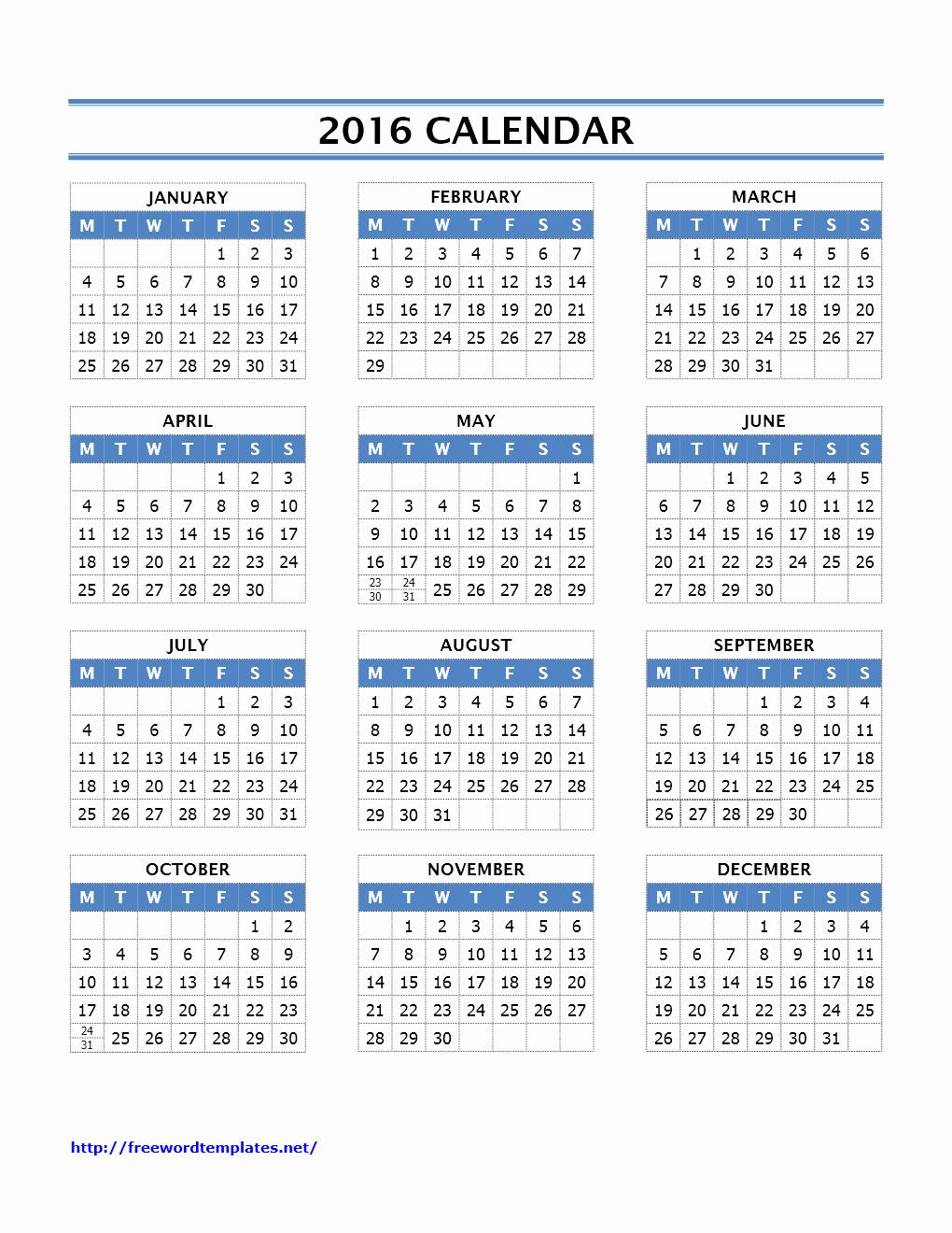 Free Printable Calendars 2016 Templates Beautiful 2016 Calendar Templates