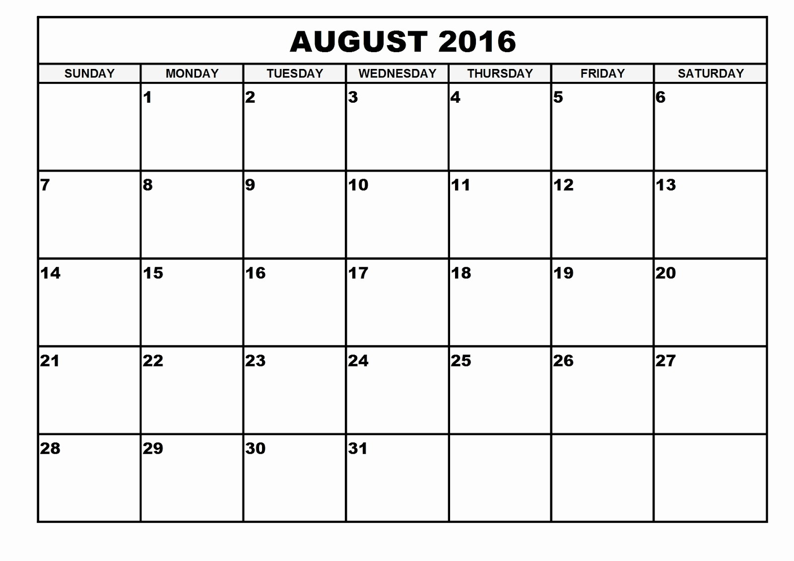 Free Printable Calendars 2016 Templates Fresh 2016 Monthly Blank Calendar