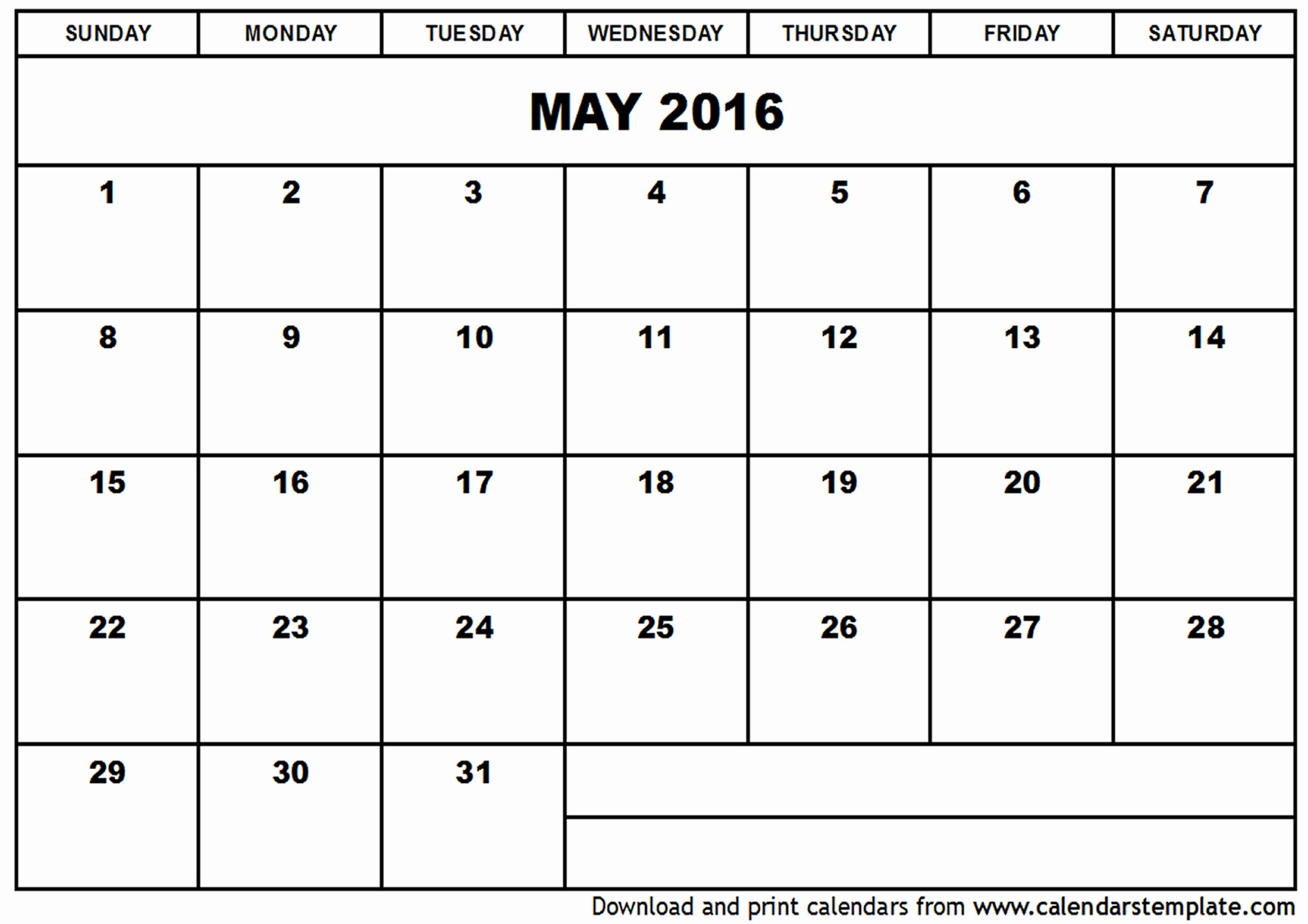 Free Printable Calendars 2016 Templates Fresh May 2016 Calendar Template