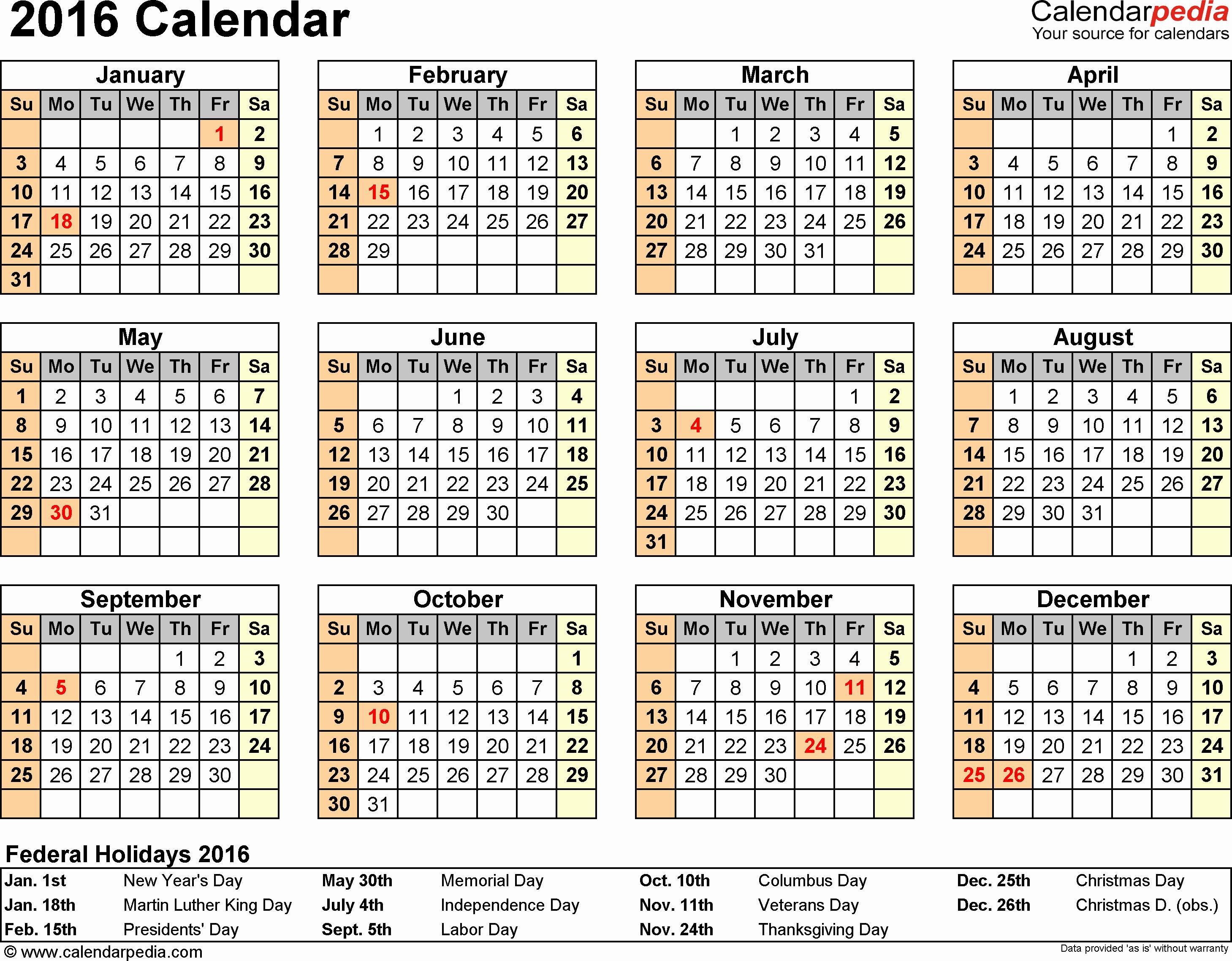 Free Printable Calendars 2016 Templates Lovely 2016 Calendar 16 Free Printable Word Calendar Templates