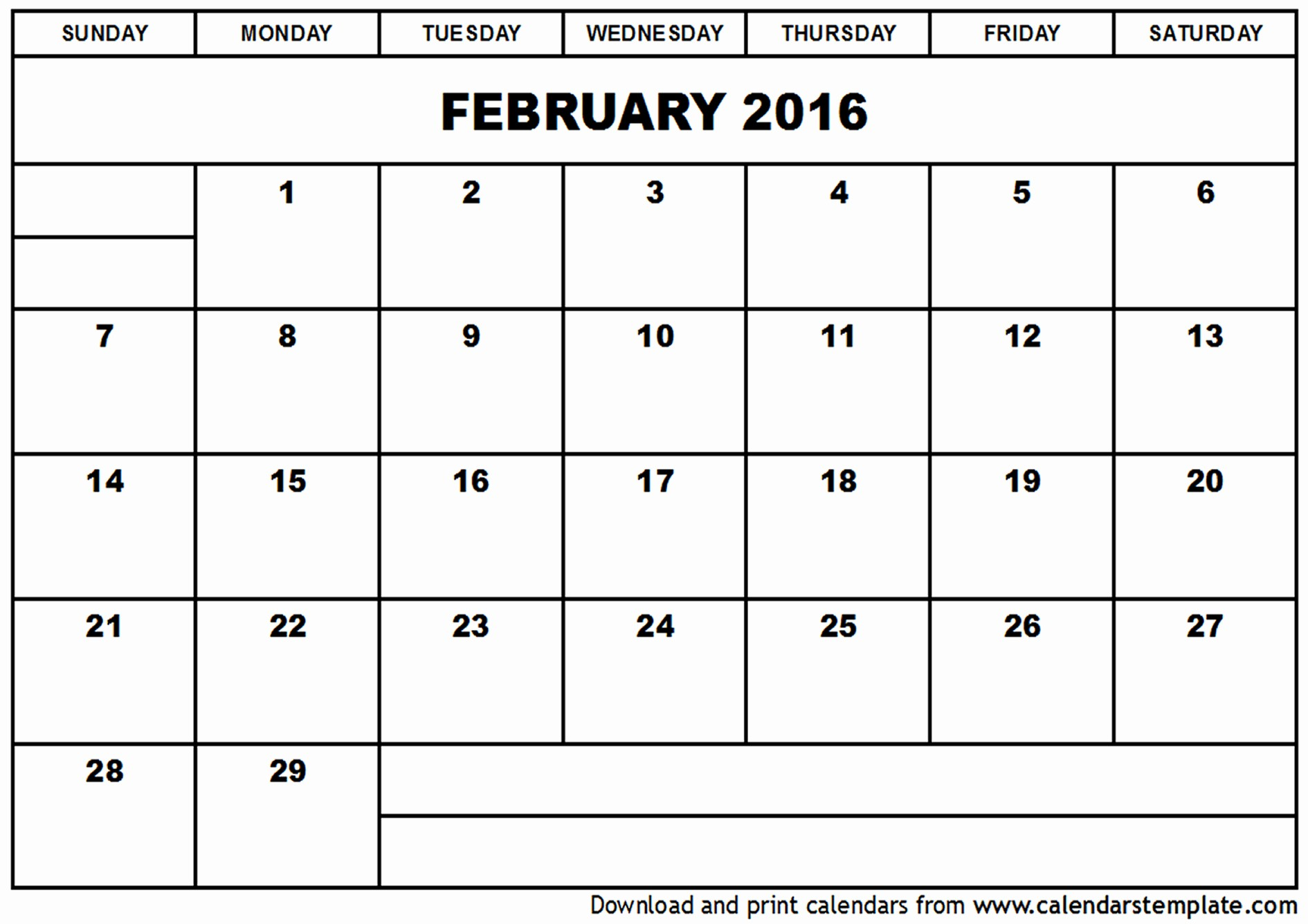 Free Printable Calendars 2016 Templates Lovely February 2016 Calendar Template