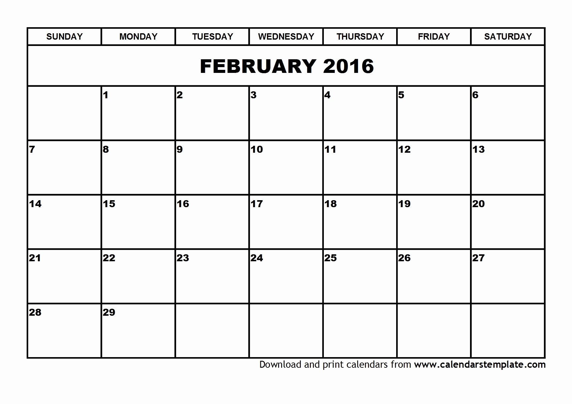 Free Printable Calendars 2016 Templates Luxury February 2016 Calendar Template