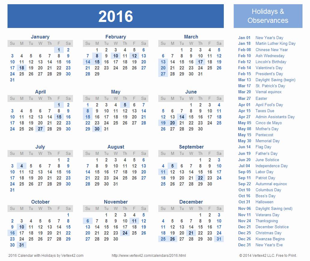 Free Printable Calendars 2016 Templates New 2016 Calendar Templates and