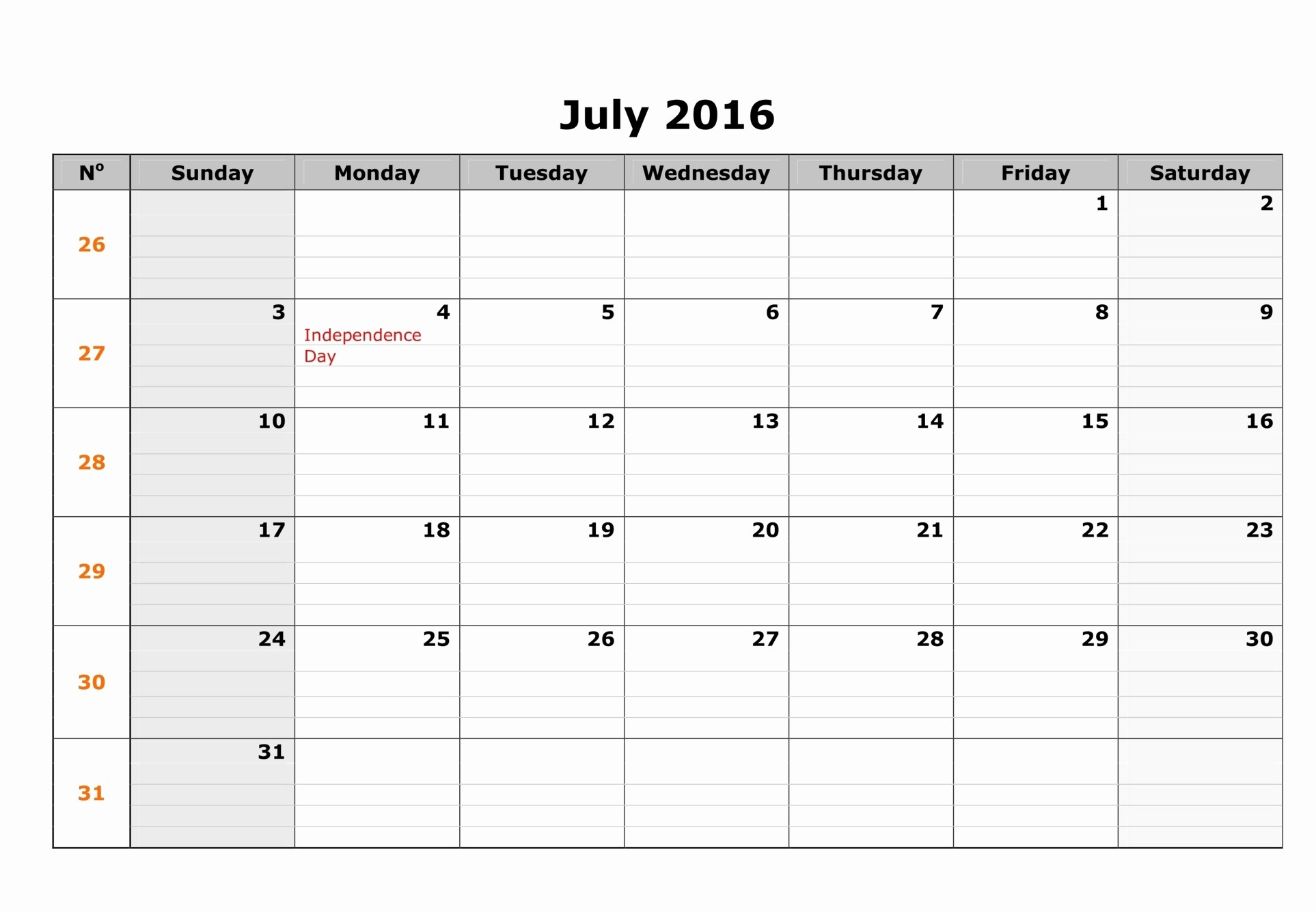 weekly july 2016 calendar templates