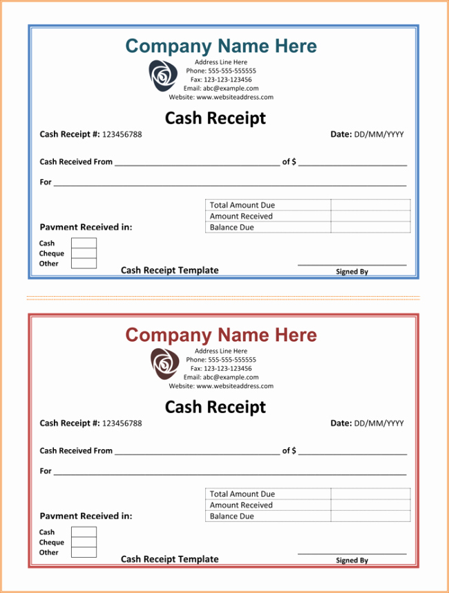 Free Printable Cash Receipt Template Beautiful Cash Receipt Template 5 Printable Cash Receipt formats