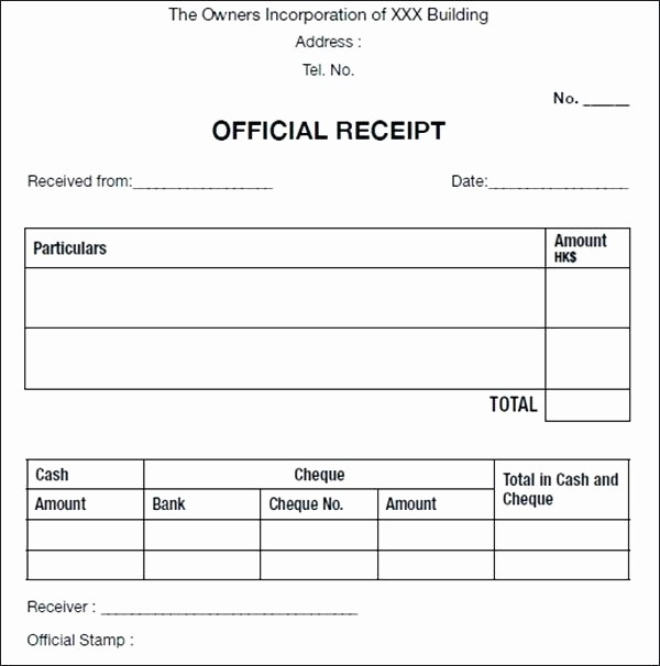 Free Printable Cash Receipt Template Inspirational Cash Receipt Template Free Word Sample Ficial for