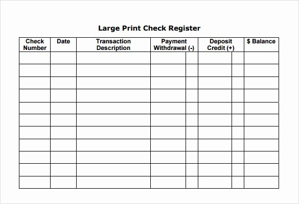 Free Printable Checkbook Register Template Luxury 7 Check Register Samples