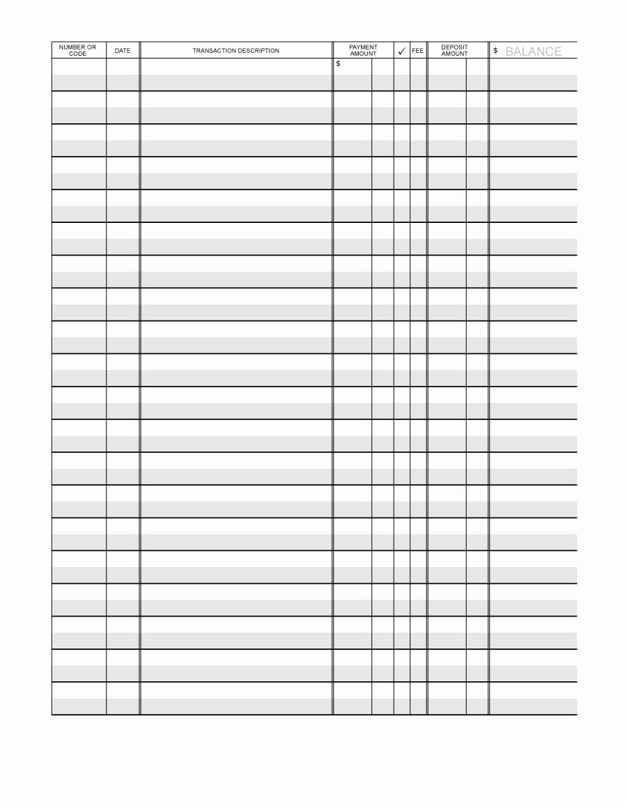 Free Printable Checkbook Register Template Unique 37 Checkbook Register Templates [ Free Printable]