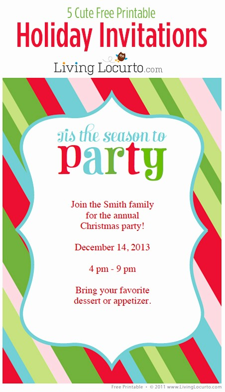 Free Printable Christmas Invitations Cards Elegant 5 Free Printable Holiday Party Invitations