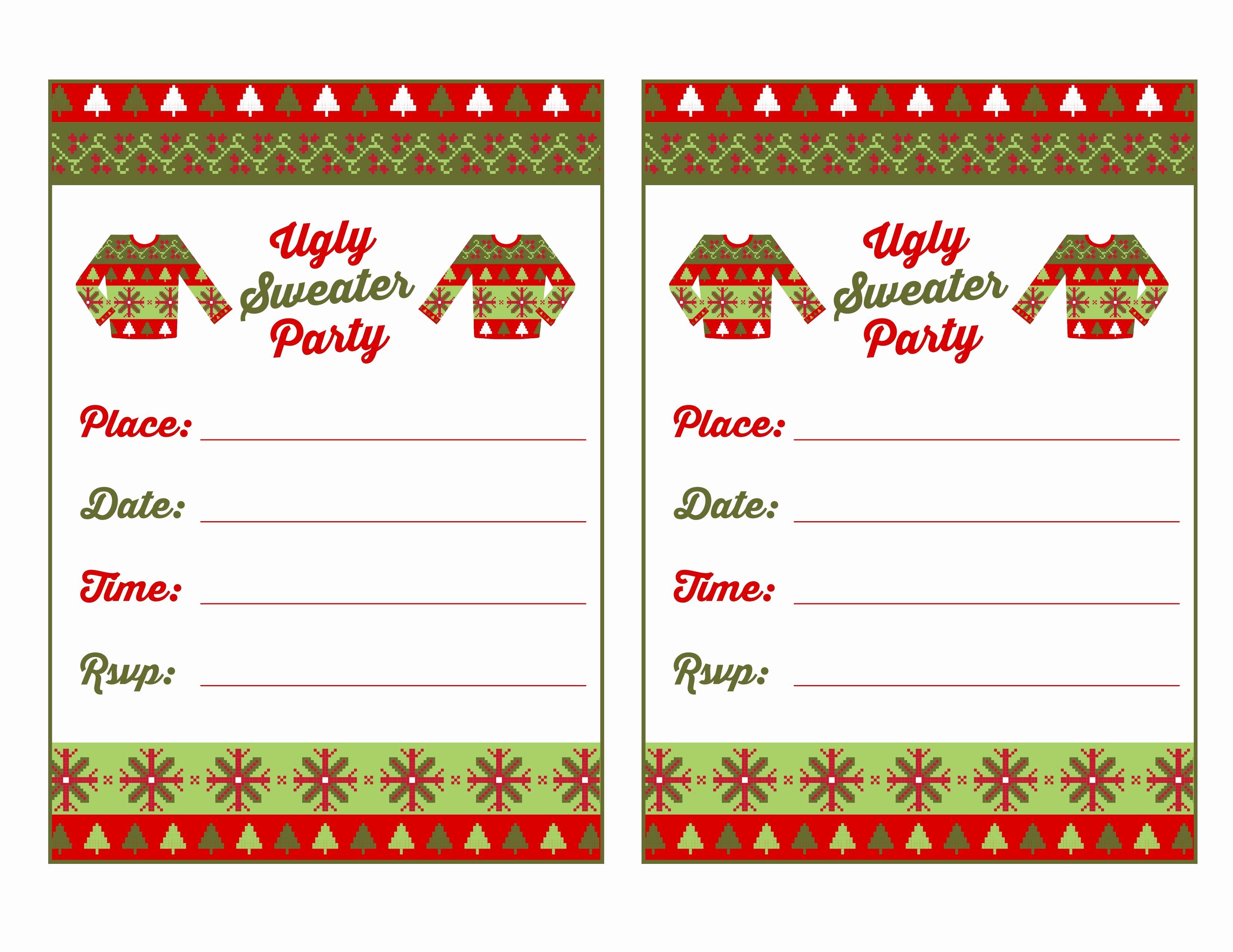 Free Printable Christmas Invitations Cards Elegant Baptism Invitation Ugly Sweater Invitation Template Free