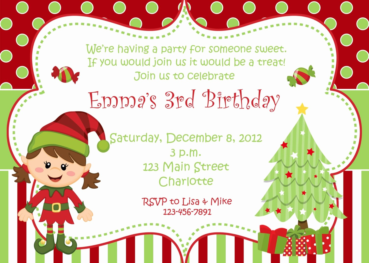 Free Printable Christmas Invitations Cards Inspirational Christmas Birthday Party Invitation Christmas Birthday