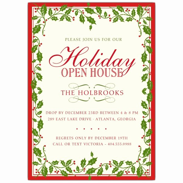 Free Printable Christmas Invitations Cards Inspirational Holly Ribbon Red Border Christmas Invitations