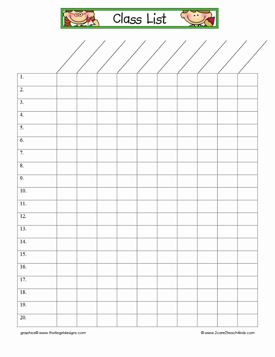 Free Printable Class Roster Template Beautiful 37 Class Roster Templates [student Roster Templates for