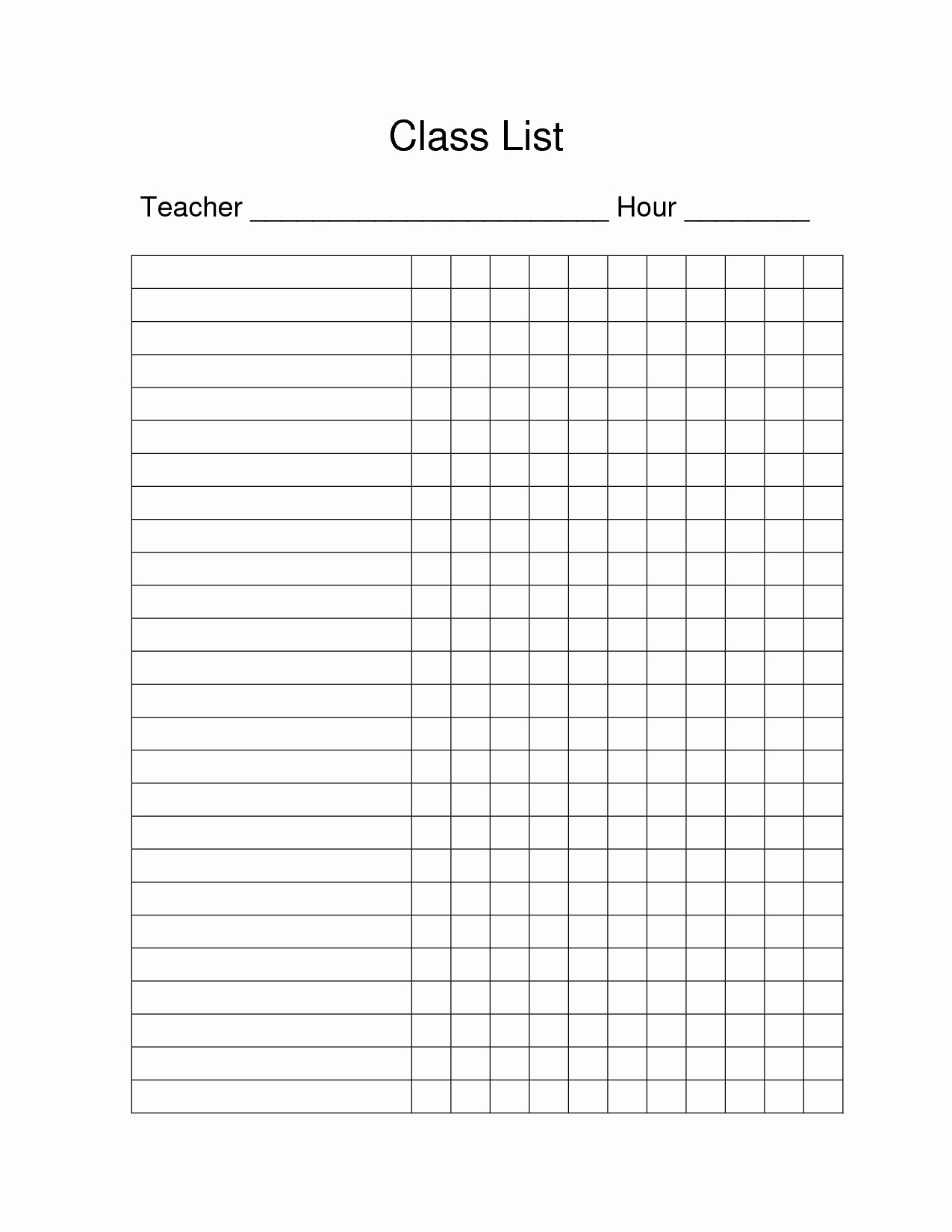 Free Printable Class Roster Template Fresh 7 Best Of Class List Blank Printable Blank Class