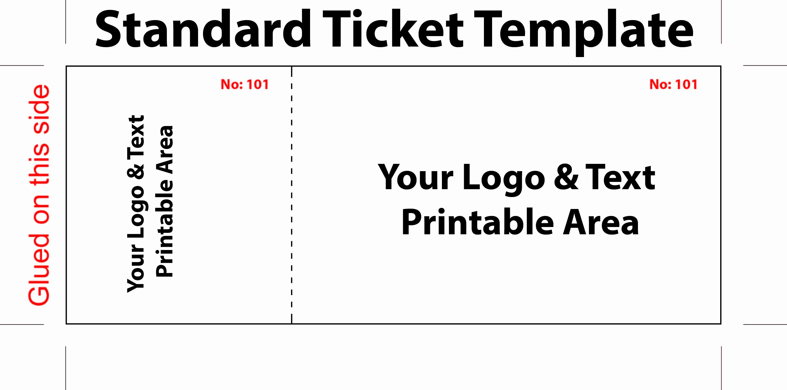 free editable standard ticket template example for concert with logo and text area in white background