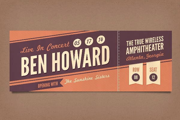 Free Printable Concert Ticket Template Beautiful 12 Vintage Ticket Templates Psd Ai Word