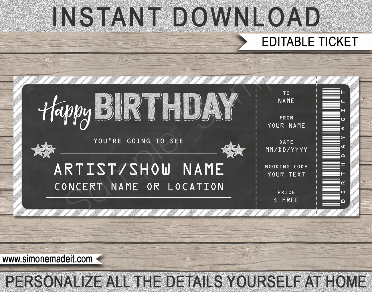 Free Printable Concert Ticket Template Elegant Concert Gift Tickets Template