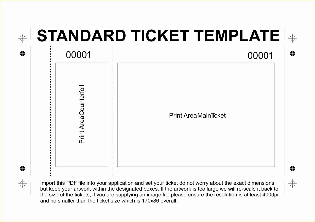 Free Printable Concert Ticket Template Inspirational 36 Editable Blank Ticket Template Examples for event Thogati