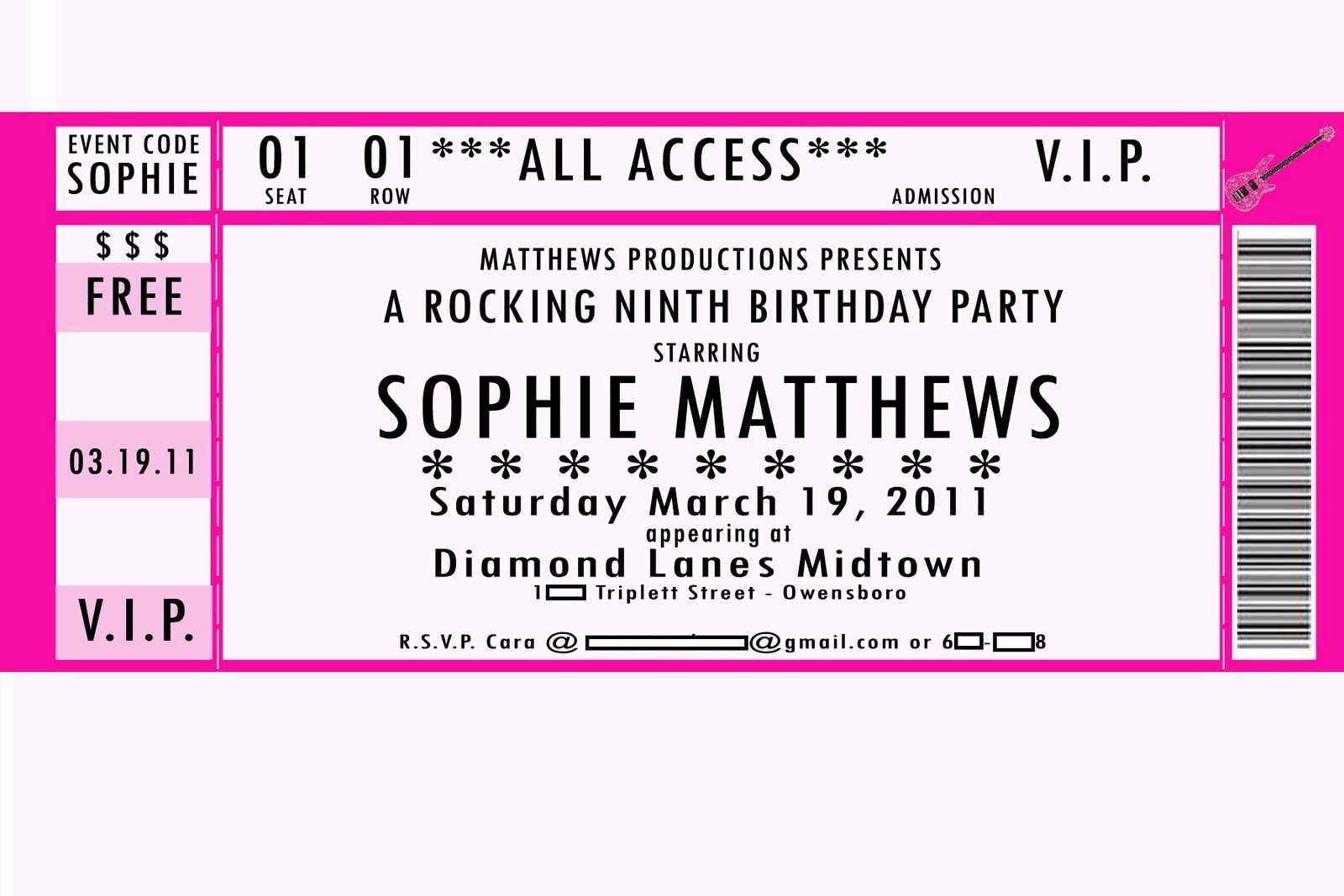 Free Printable Concert Ticket Template New Movie Ticket Birthday Invitations Template Free
