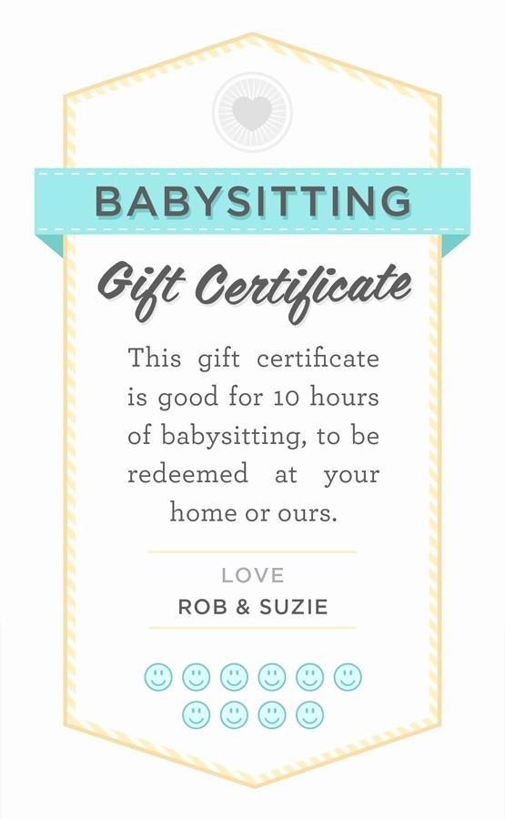 Free Printable Customizable Gift Certificates Beautiful Babysitting T Certificate Fully Customizable