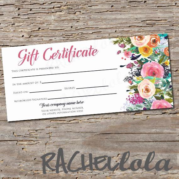 Free Printable Customizable Gift Certificates Beautiful Custom Watercolor Floral Gift Certificate Printable
