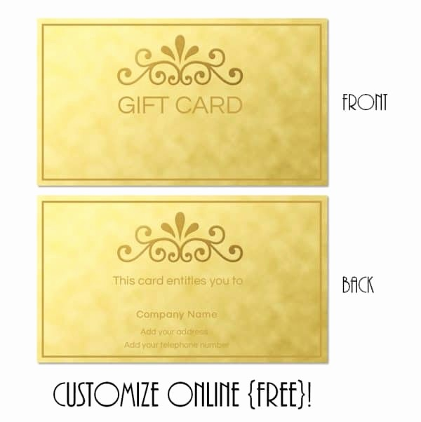 Free Printable Customizable Gift Certificates Fresh Gift Card Template