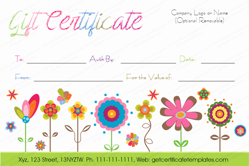 Free Printable Customizable Gift Certificates New Printable Artistic Blossoms Gift Certificate Template