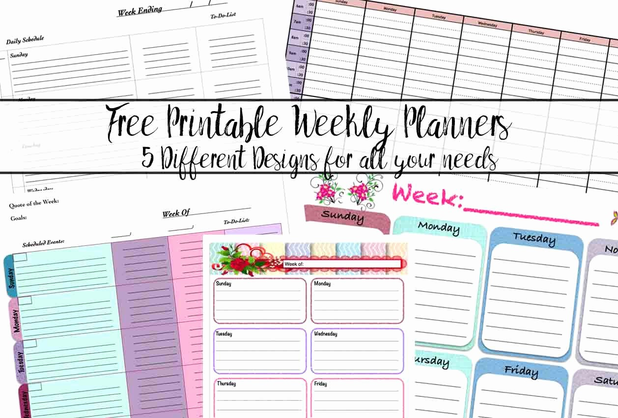 Free Printable Daily Calendar 2015 Awesome Free Printable Weekly Planners 5 Designs
