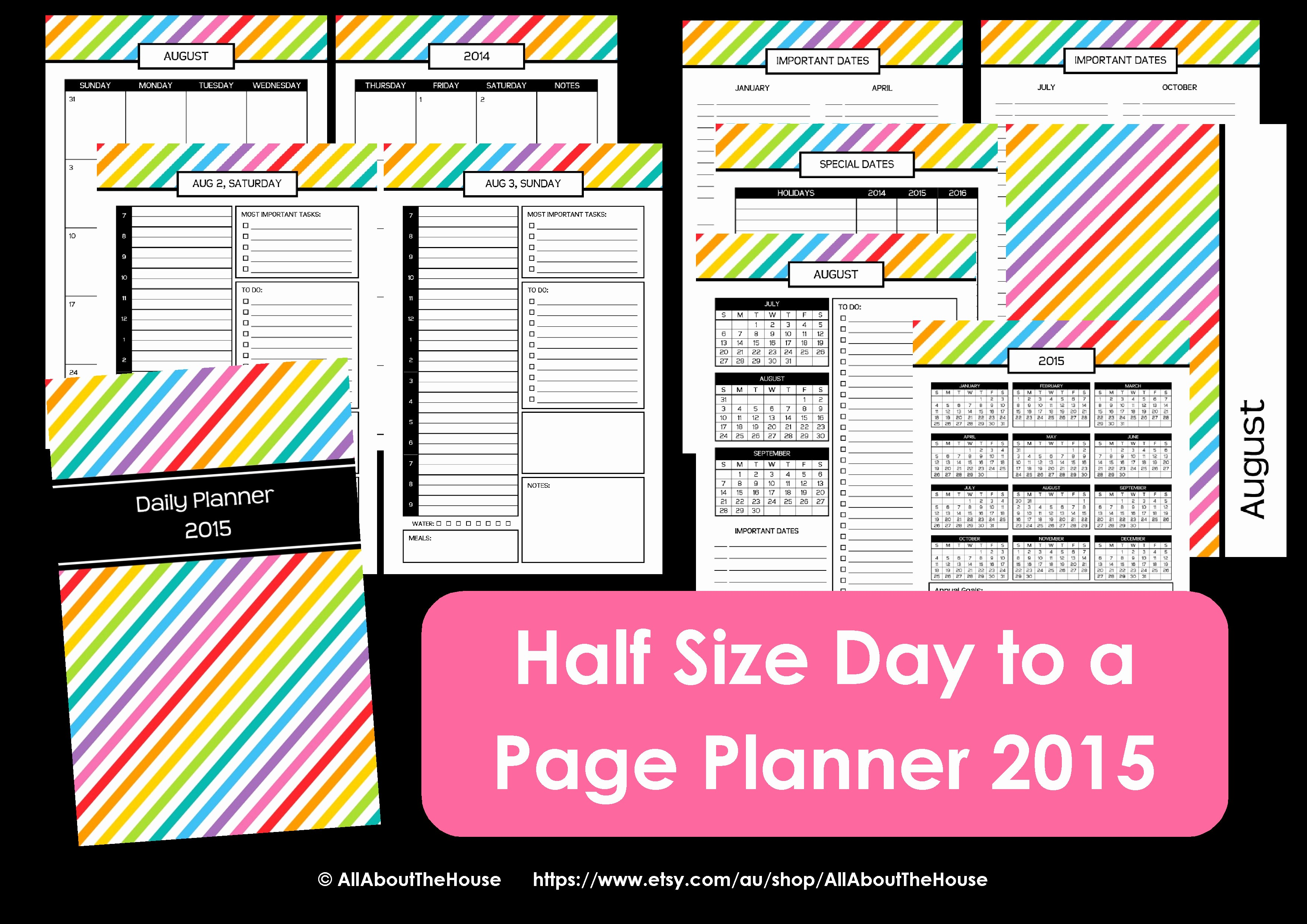 Free Printable Daily Calendar 2015 Elegant New Half Size Printable Planners for 2015