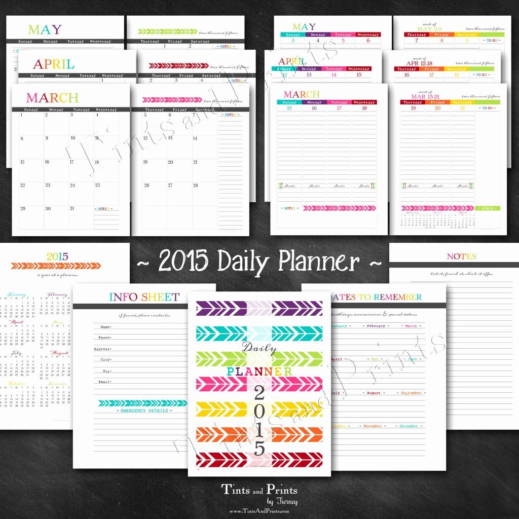 Free Printable Daily Calendar 2015 Unique Happy 2015 Printable Daily Planner Calendar