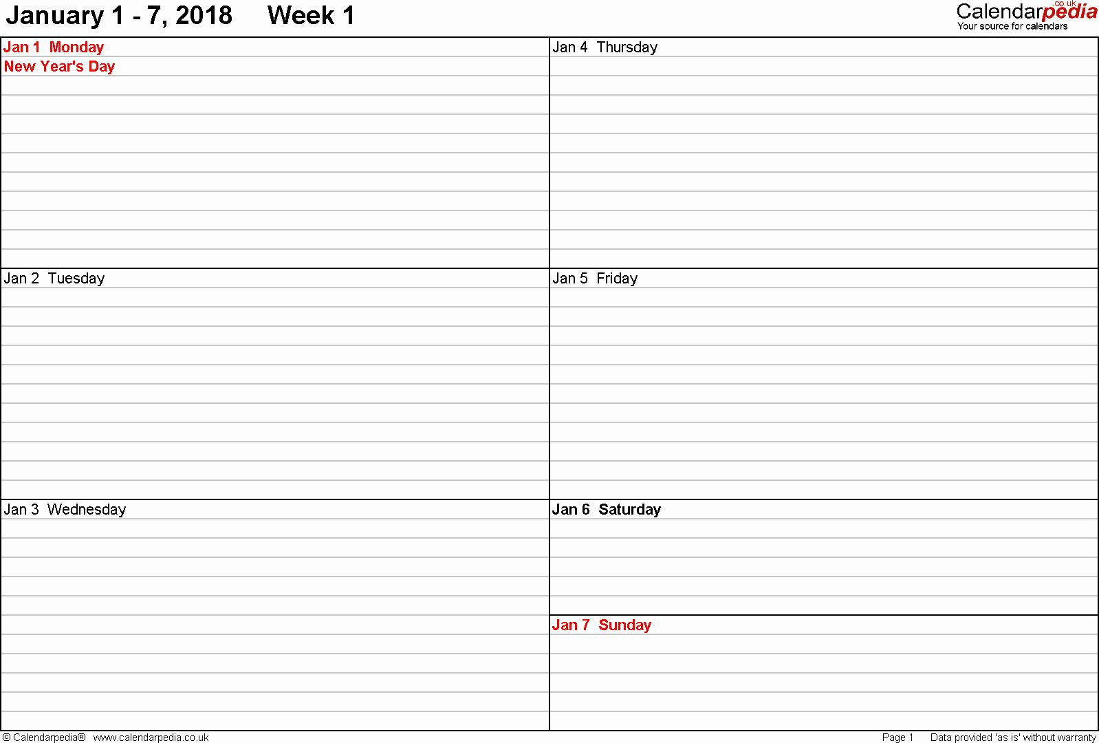 Free Printable Daily Calendar 2018 Best Of 2018 Weekly Printable Calendar