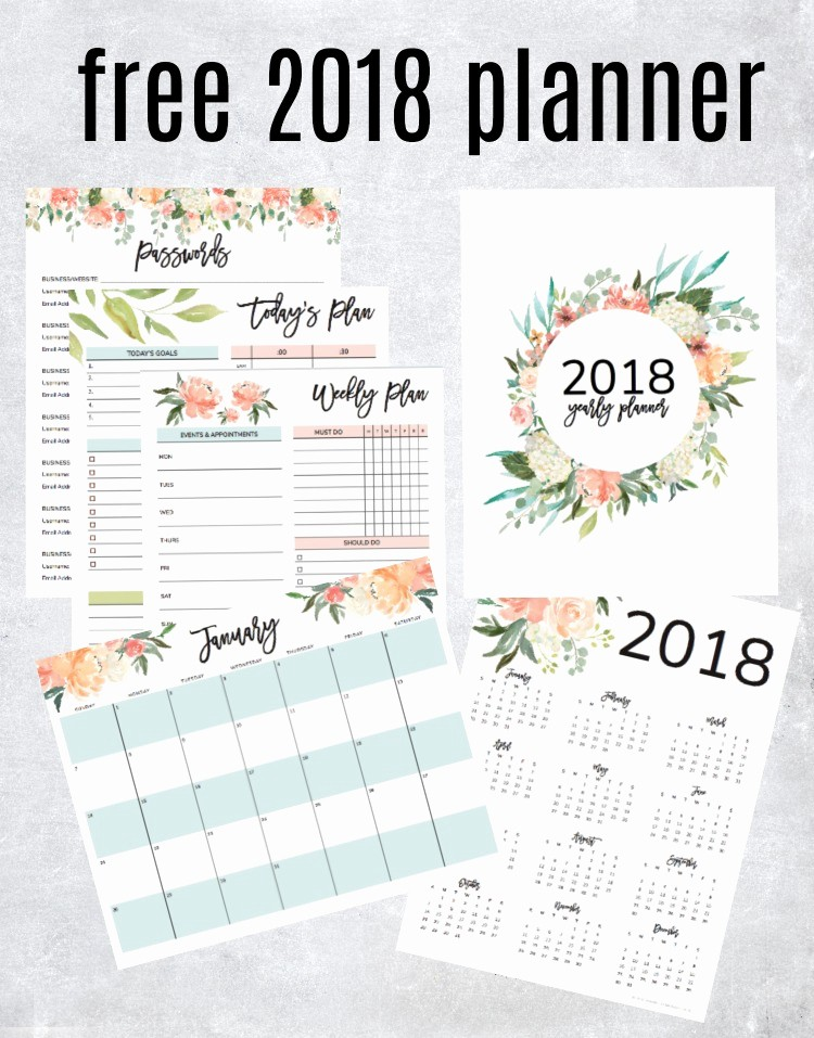 Free Printable Daily Calendar 2018 Inspirational Get Your Free 2018 Printable Planner with Daily Weekly