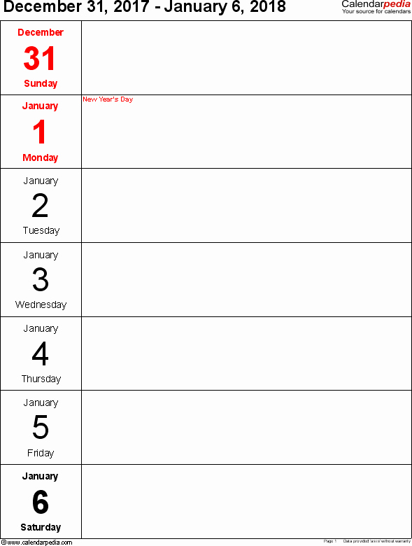 Free Printable Daily Calendar 2018 Inspirational Weekly Calendar 2018 for Word 12 Free Printable Templates