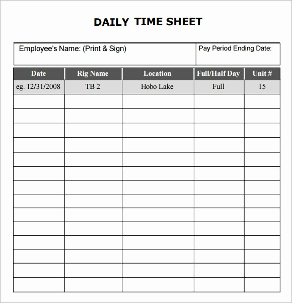 Free Printable Daily Time Sheets Awesome Daily Timesheet Template 10 Free Download for Pdf Excel