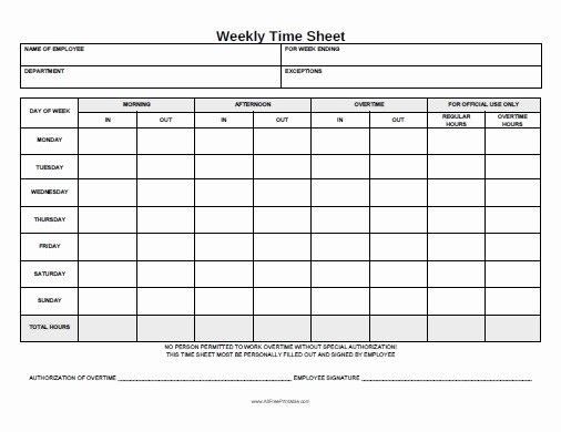 Free Printable Daily Time Sheets Awesome Weekly Time Sheet Free Printable Allfreeprintable