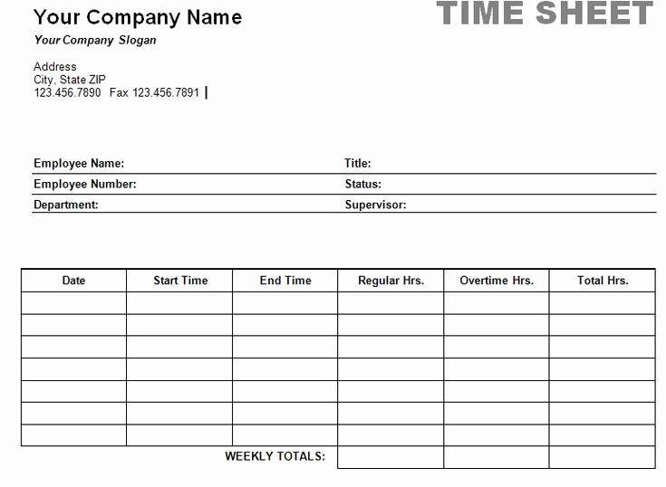 Free Printable Daily Time Sheets Elegant Simple Weekly Timesheet