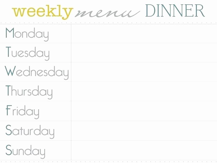 Free Printable Dinner Menu Templates Awesome Editable Weekly Menu Planner Template Free Excel