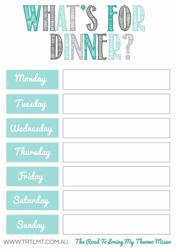 Free Printable Dinner Menu Templates Elegant 10 Free Weekly Meal Plans