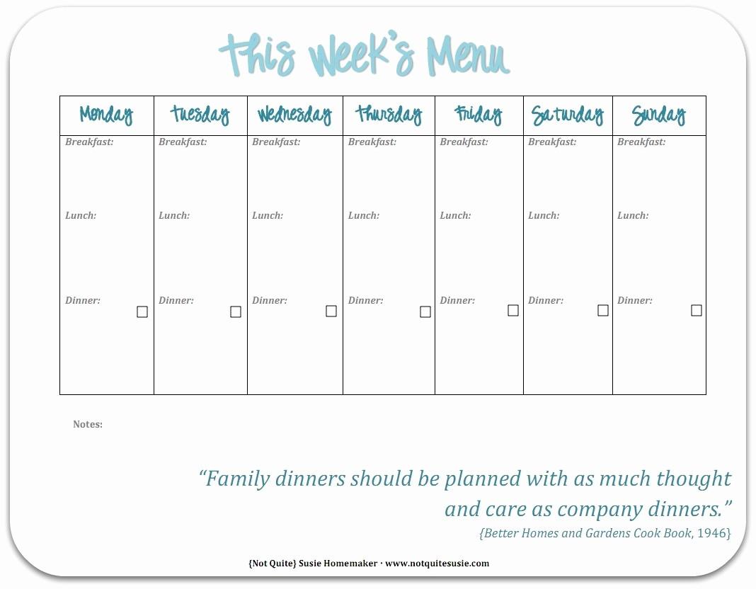 Free Printable Dinner Menu Templates Elegant Free Printable Weekly Meal Planner Not Quite Susie