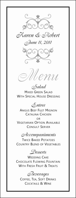 Free Printable Dinner Menu Templates Inspirational Wedding Menu Templates