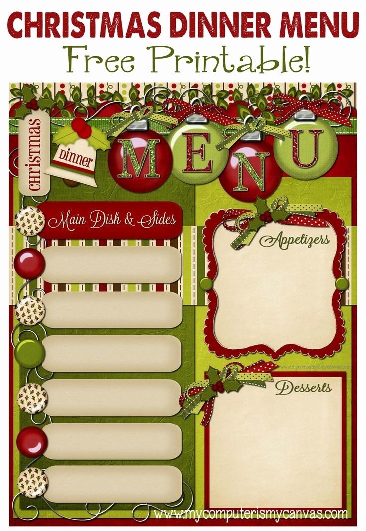 Free Printable Dinner Menu Templates Luxury 10 Best S Of Printiable Holiday Menu Free Printable